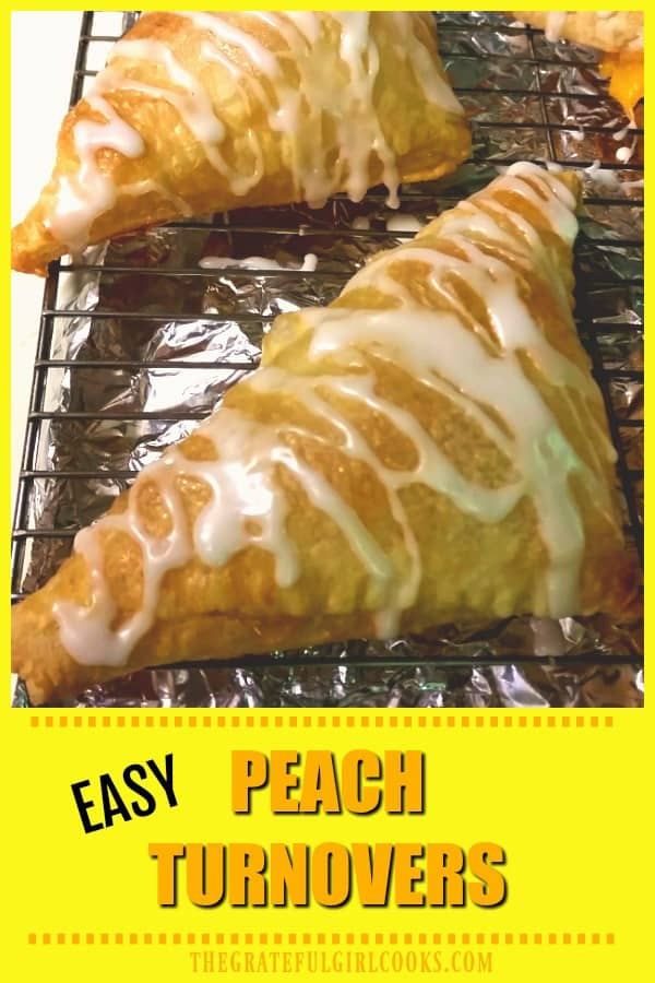 Peach turnovers with vanilla glaze are delicious, and so quick and easy to make using peach pie filling and puff pastry sheets! Sure to be a family favorite!