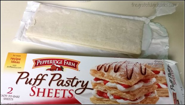 Puff pastry sheets are used to make peach turnovers.