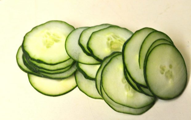 Very thinly sliced cucumbers for carpaccio salad