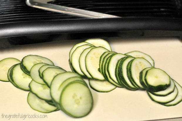 Cucumber and zucchini slices cut using mandolin