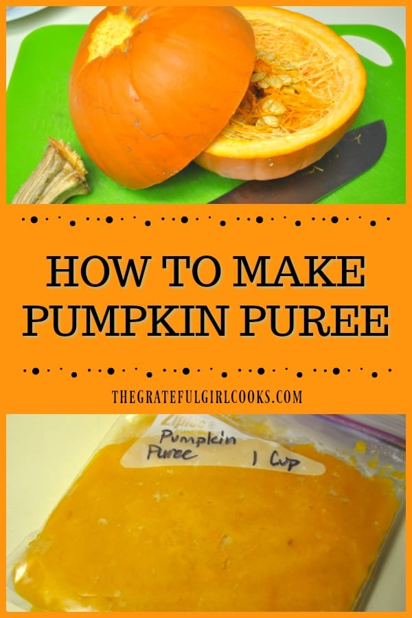"Learn how to make pumpkin puree from ""pie"" or ""sugar"" variety pumpkins! Make about 6 cups of puree (from 2 pumpkins) to freeze and use throughout the year!"