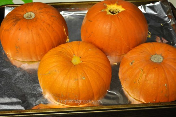 Pie pumpkins are roasted in oven until tender, before making pumpkin puree.