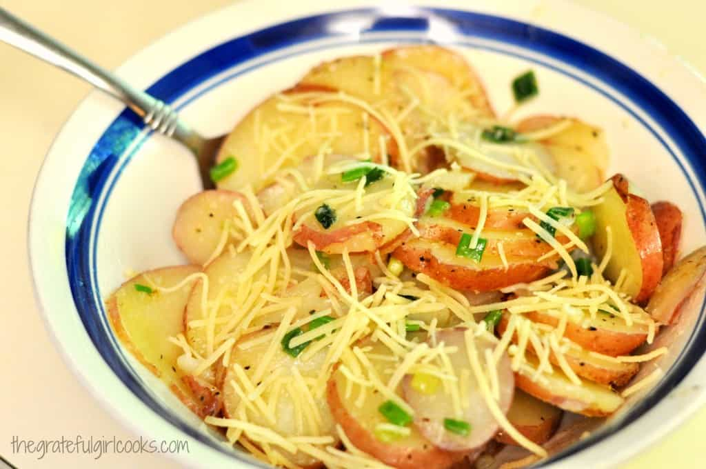 Skillet Potatoes With Scallions And Parmesan / The Grateful Girl Cooks!