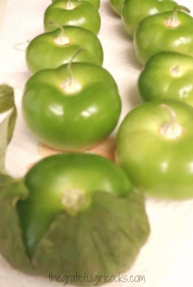 Tomatillos are used to make cilantro lime enchilada sauce.