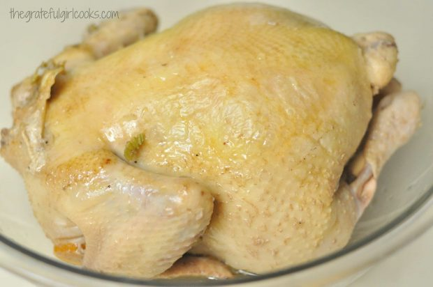 Fully cooked chicken ready for soup with dumplings