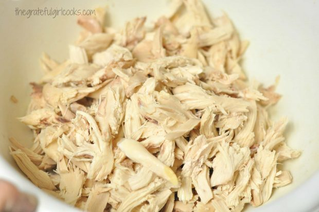 Shredded chicken to add to the soup and dumplings
