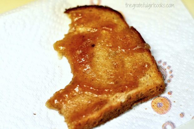 Toast with apple butter spread on it