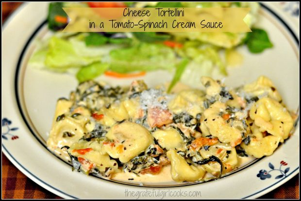 Cheese tortellini, enhanced with a cream sauce featuring tomatoes, spinach, garlic and Parmesan cheese is delicious, comforting and filling!