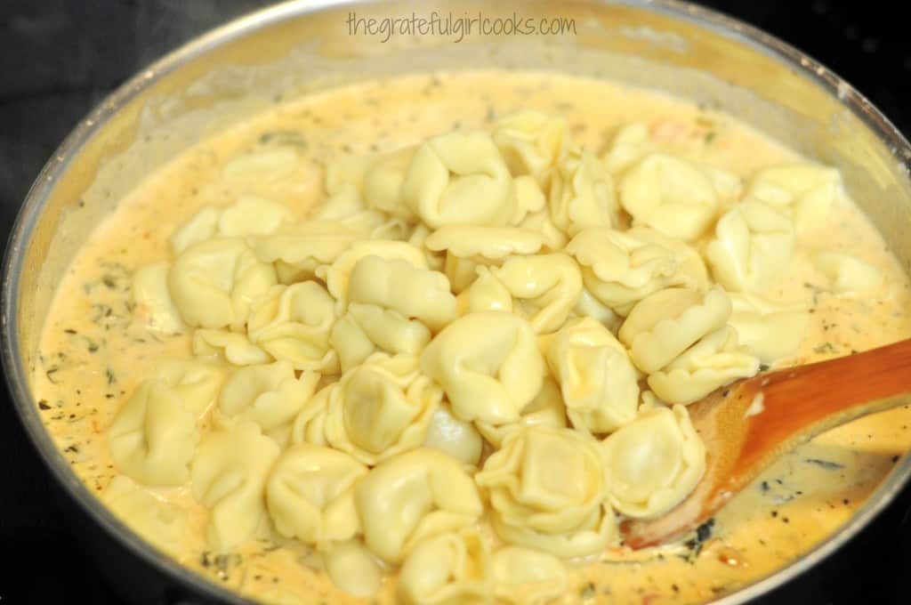 Cheese Tortellini in a Tomato-Spinach Cream Sauce / The Grateful Girl Cooks!
