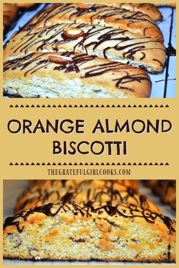 Orange Almond Biscotti are crispy Italian inspired cookies, with a semi-sweet chocolate base, and chocolate drizzle on top. Perfect to dunk in coffee!
