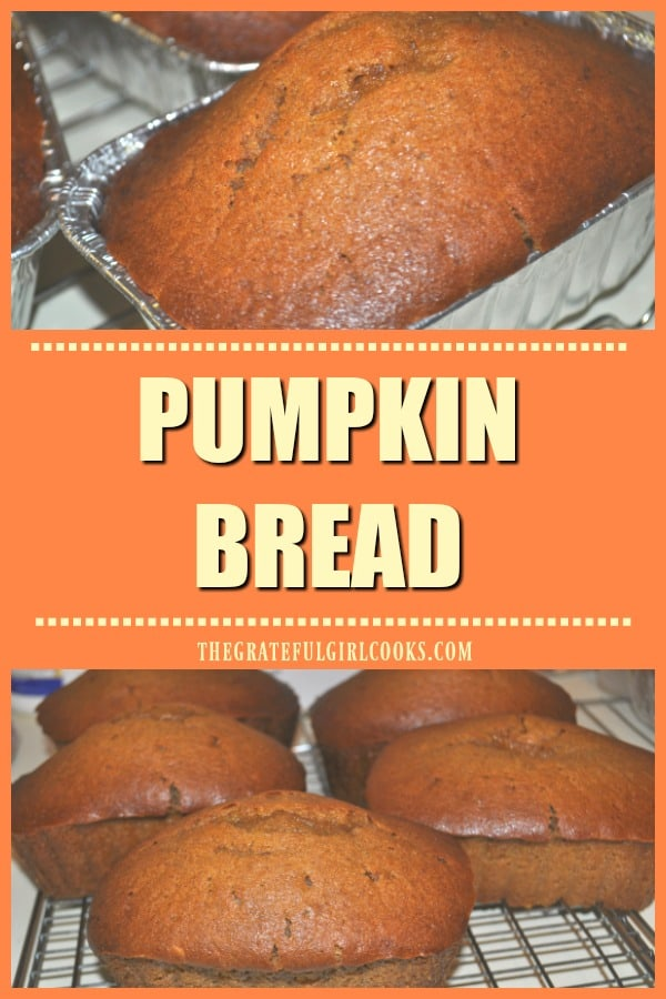 Make three mini-loaves of this traditional, and delicious pumpkin bread, flavored with the warm Fall spices of of cinnamon, nutmeg and ginger! EASY!