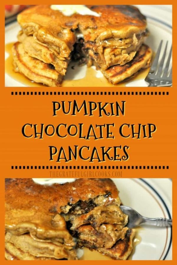 Need a taste of Fall for breakfast? Try these delicious, fluffy, pumpkin chocolate chip pancakes, with chocolate chips, pumpkin puree, cinnamon and allspice!