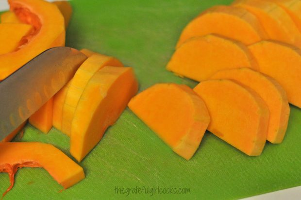 The butternut squash must be peel and sliced before it is roasted.