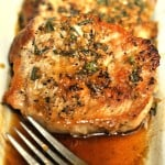 Seared Pork Chops in a Lemon, Wine & Herb Sauce