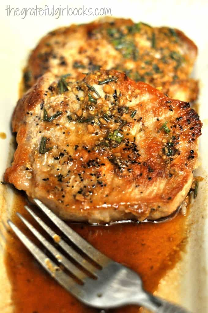 Seared Pork Chops in a Lemon, Wine & Herb Sauce / The Grateful Girl Cooks!