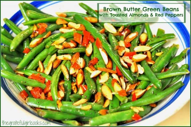 Brown Butter Green Beans is a festive vegetable side dish featuring fresh green beans cooked in browned butter, with toasted almonds and red bell peppers!
