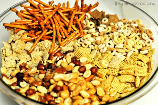 Chex mix munchies getting ready to be microwaved.