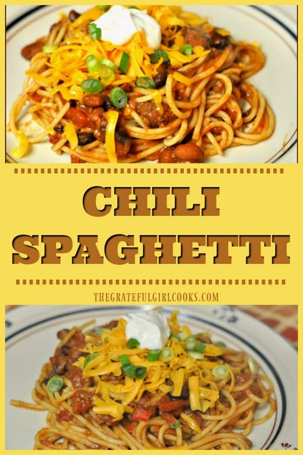 Looking for a quick and easy pasta dinner with a Mexican twist? How about making a batch of Chili Spaghetti, with chili, green onions, cheese and sour cream?