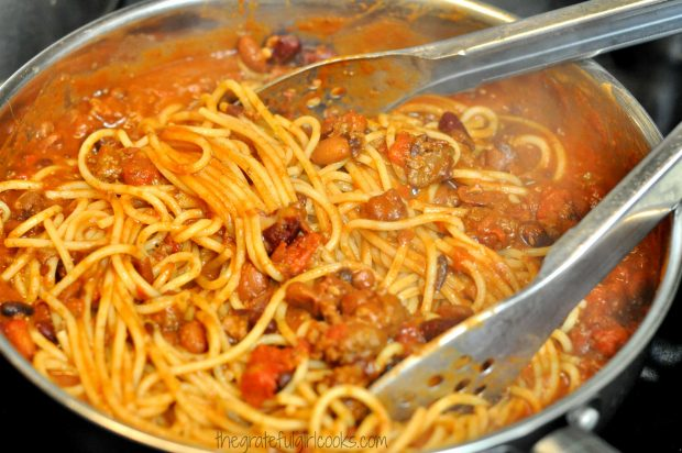 Chili Spaghetti is mixed and heated through, in large skillet.