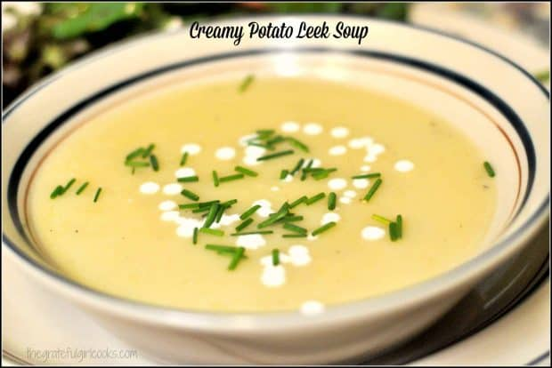 Delicious, creamy potato leek soup, made with Yukon gold potatoes, fresh leeks, seasoned broth and cream, is delicious, thick and filling!