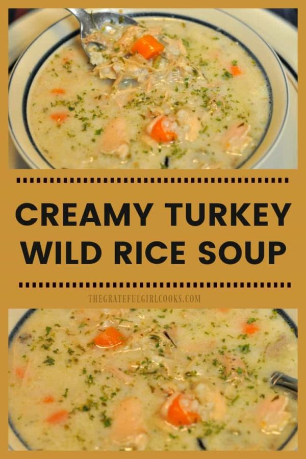 Make this delicious, creamy turkey wild rice soup with wild rice, carrots, and onions in your slow cooker, using your Thanksgiving turkey leftovers!