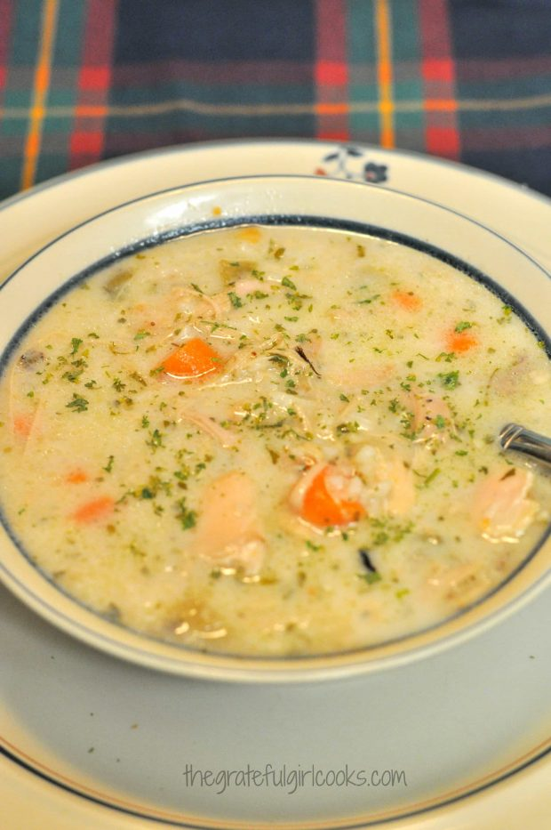 Creamy Turkey Wild Rice Soup / The Grateful Girl Cooks! Make this delicious, creamy soup with wild rice, carrots, and onions using your Thanksgiving turkey leftovers!