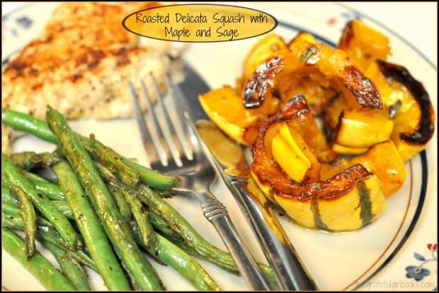 Roasted Delicata Squash with Maple and Sage / The Grateful Girl Cooks! Easy and delicious side dish, featuring oven roasted delicata squash, glazed with maple syrup, butter, and sage.