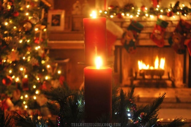 Christmas decorations are the perfect setting for sipping spiced tea mix by the firelight..