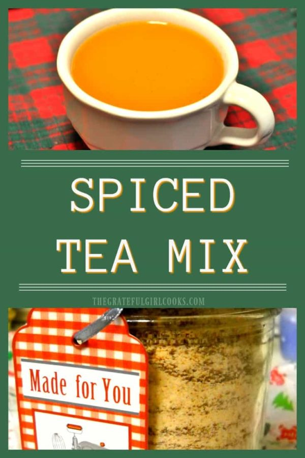 Spiced Tea Mix is perfect for gift giving during the holidays or just sipping a cup of this orange-cinnamon-clove spiced tea by the Christmas tree!