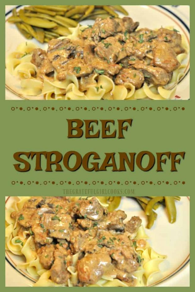 Beef Stroganoff / The Grateful Girl Cooks! This delicious, truly classic meal features tender beef strips in a mushroom, onion, and sour cream sauce, and is served over egg noodles.