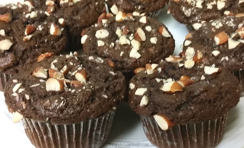 Dark Chocolate Almond Chia Muffins / The Grateful Girl Cooks!