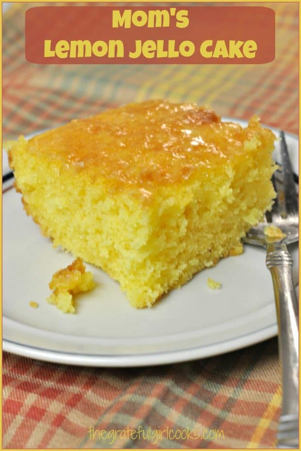 Mom's Lemon Jello Cake with lemon glaze icing is so easy to make, is bursting with LEMON flavor, and will be a big hit with all who try this delicious dessert!