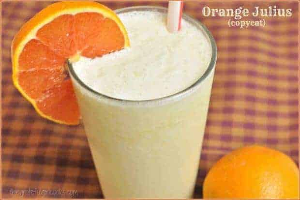 You'll enjoy this Orange Julius copycat recipe for the famous cold, creamy, frothy orange drink! EASY and quick to make smoothie, with only a few ingredients!