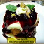 Pound Cake With Lemon Cream and Blueberry Sauce