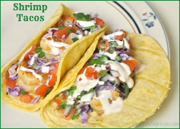 Make these delicious pan-seared shrimp tacos with homemade pico de gallo, topped with a creamy salsa verde sour cream sauce in a snap!