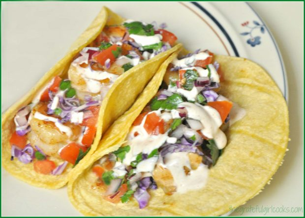 Shrimp tacos on a plate, ready to eat!