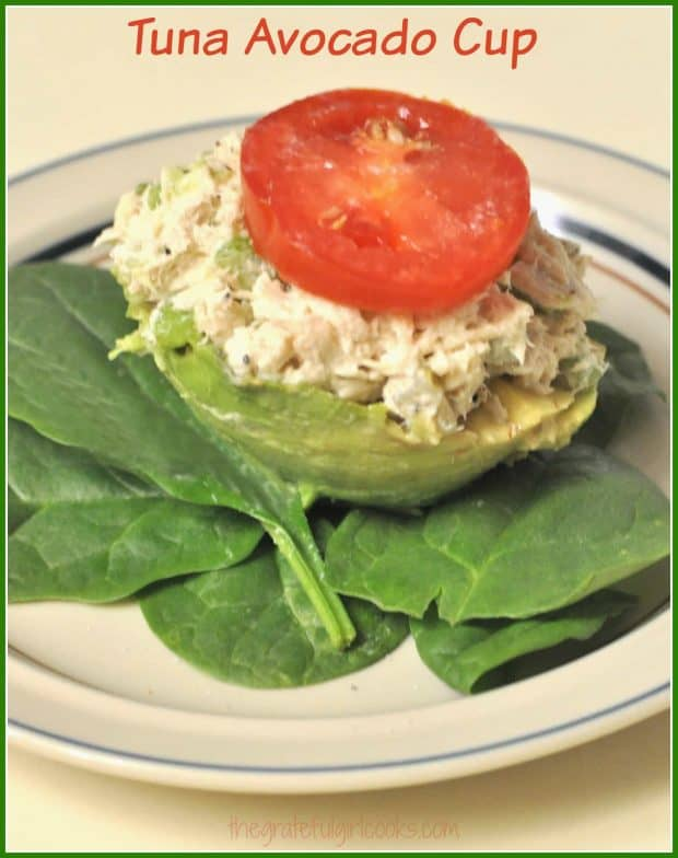 "If you need a quick, healthy lunch on the go, why not try a yummy Tuna Avocado Cup? Tuna salad, served in it's own edible ""bowl""."