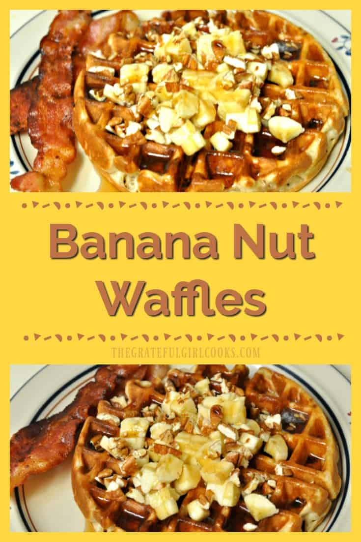 Hungry? Make a plain breakfast waffle taste like a gourmet Banana Nut Waffle by simply adding some common ingredients like bananas, toasted pecans and cinnamon! Delicious!