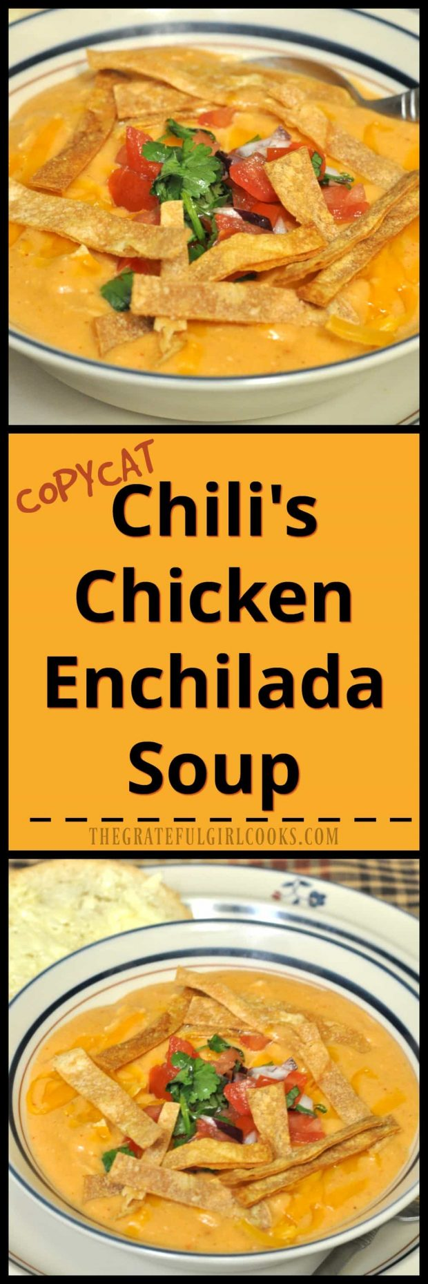 Chili's Chicken Enchilada Soup (copycat) / The Grateful Girl Cooks! Enjoy a taste of the Southwest with this delicious soup!