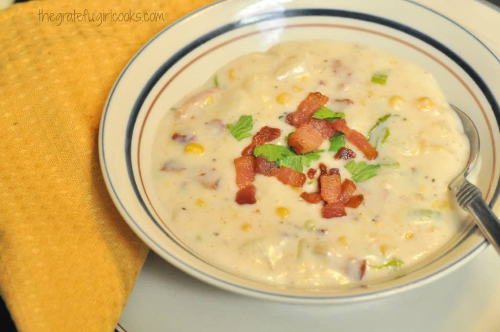 Corn, Bacon & Potato Chowder / The Grateful Girl Cooks!
