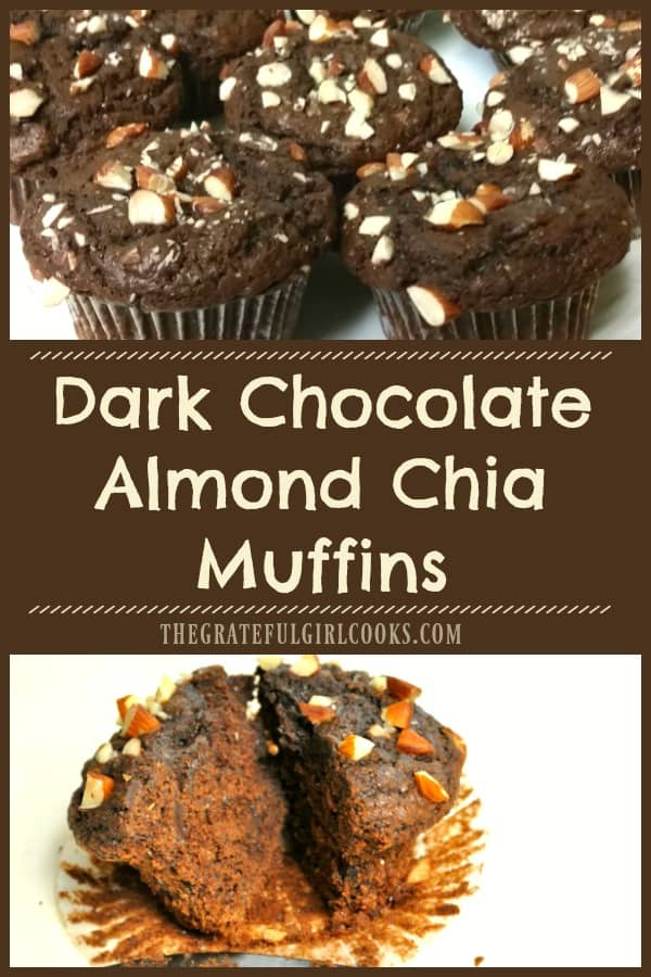 You will LOVE these easy and absolutely delicious dark chocolate almond chia muffins, loaded with dark chocolate, almonds, chia seeds, and sea salt!