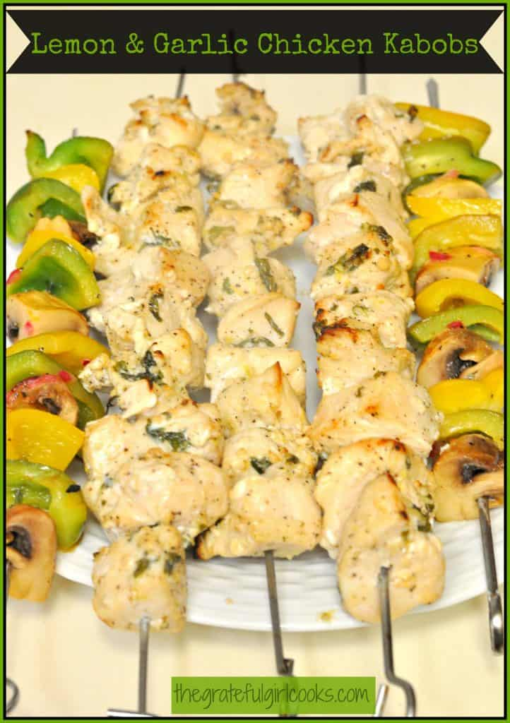 Lemon & Garlic Chicken Kabobs / The Grateful Girl Cooks!