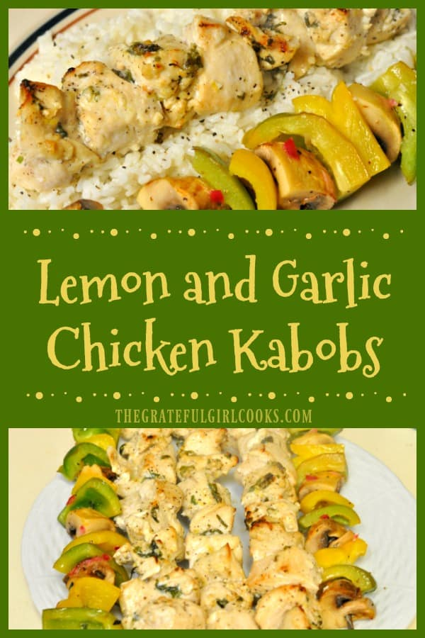 Long pin for lemon and garlic chicken kabobs