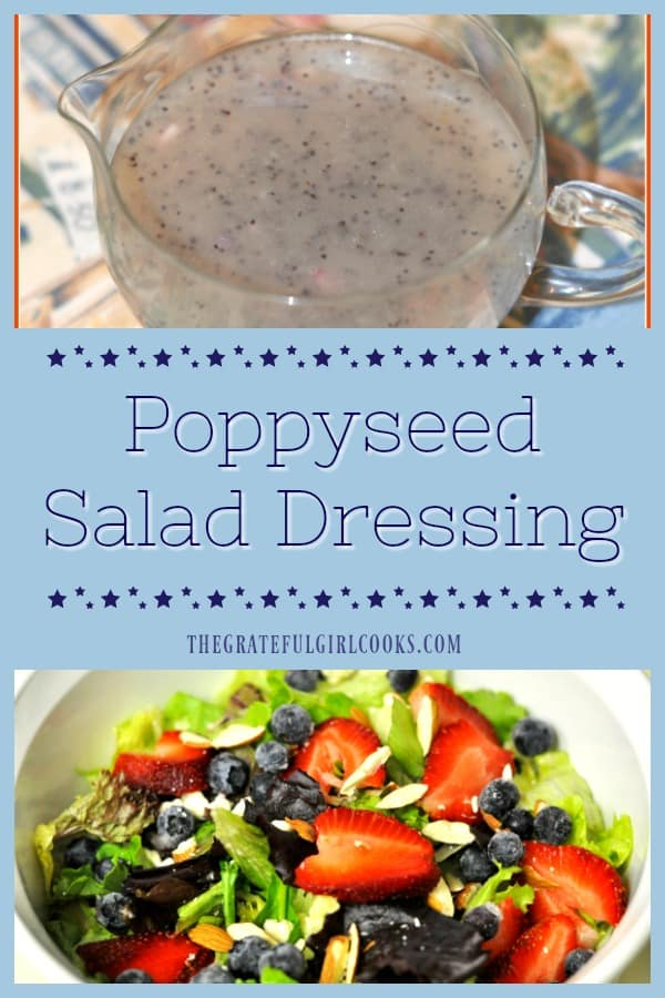 This delicious poppyseed salad dressing is EASY to make in under 5 minutes, using common pantry ingredients! Why buy it when you can make it from scratch?