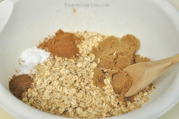 Rolled oats and spices in white bowl