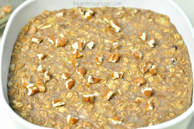 Banana Bread Baked Oatmeal baked and out of oven