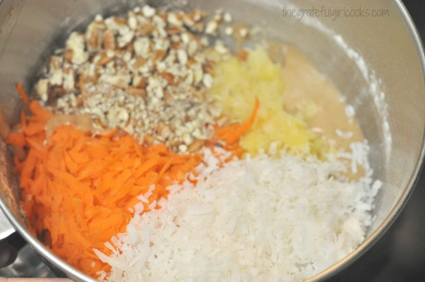 Pecans, carrots, pineapple and coconut for Edie's carrot cake batter.