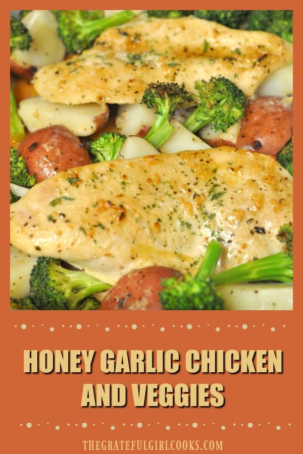 Honey garlic chicken breasts are baked in a honey garlic sauce, with red potatoes and broccoli in this delicious, easy one pan dinner!