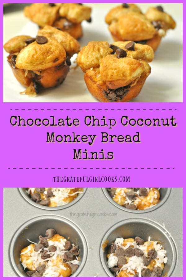 Chocolate Chip Coconut Monkey Bread Minis are a yummy, hand-held version of this breakfast treat! They're filled with chocolate chips, coconut, butter, brown sugar and cinnamon!