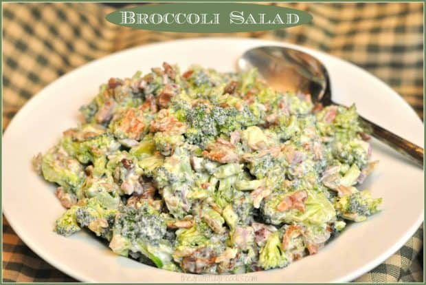 It's EASY to make this delicious, cold and crunchy broccoli salad side dish (w/ bacon, raisins, & sunflower seeds) for family meals, BBQ's or potlucks!